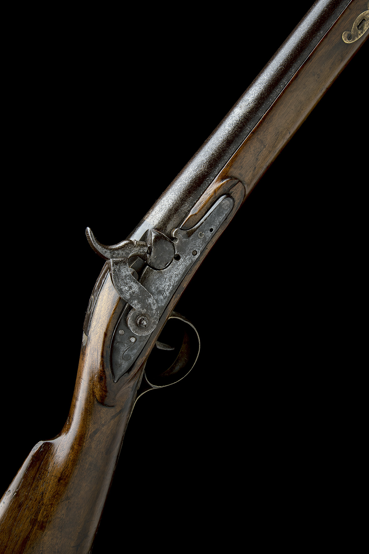 A 10-BORE PERCUSSION BANK-GUN, SIGNATURE OBSCURED, no visible serial number, English, some parts
