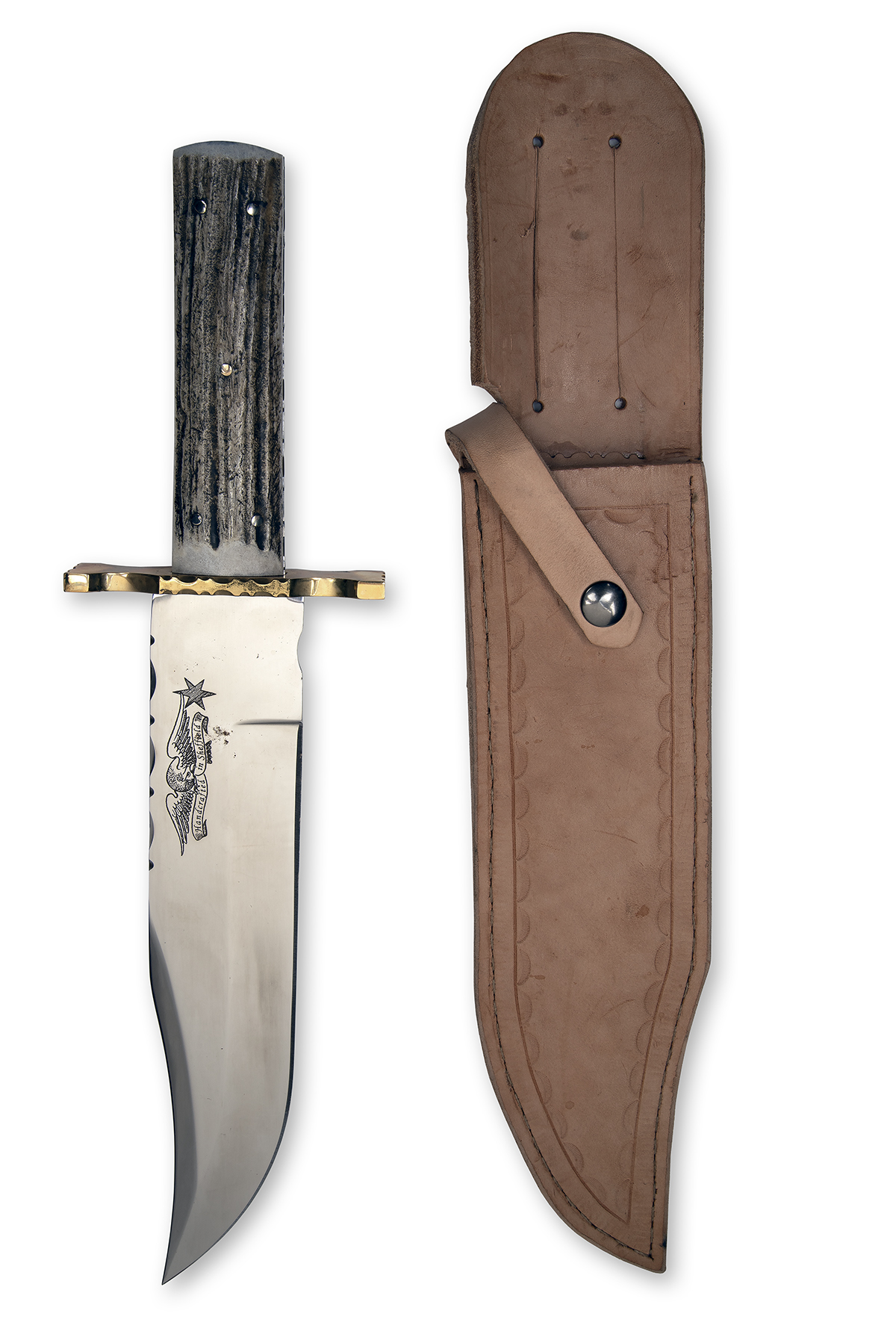 A LARGE CUSTOM BOWIE-KNIFE SIGNED SHEFFIELD, almost certainly by R. Cooper, with 9 3/4in. clip-point