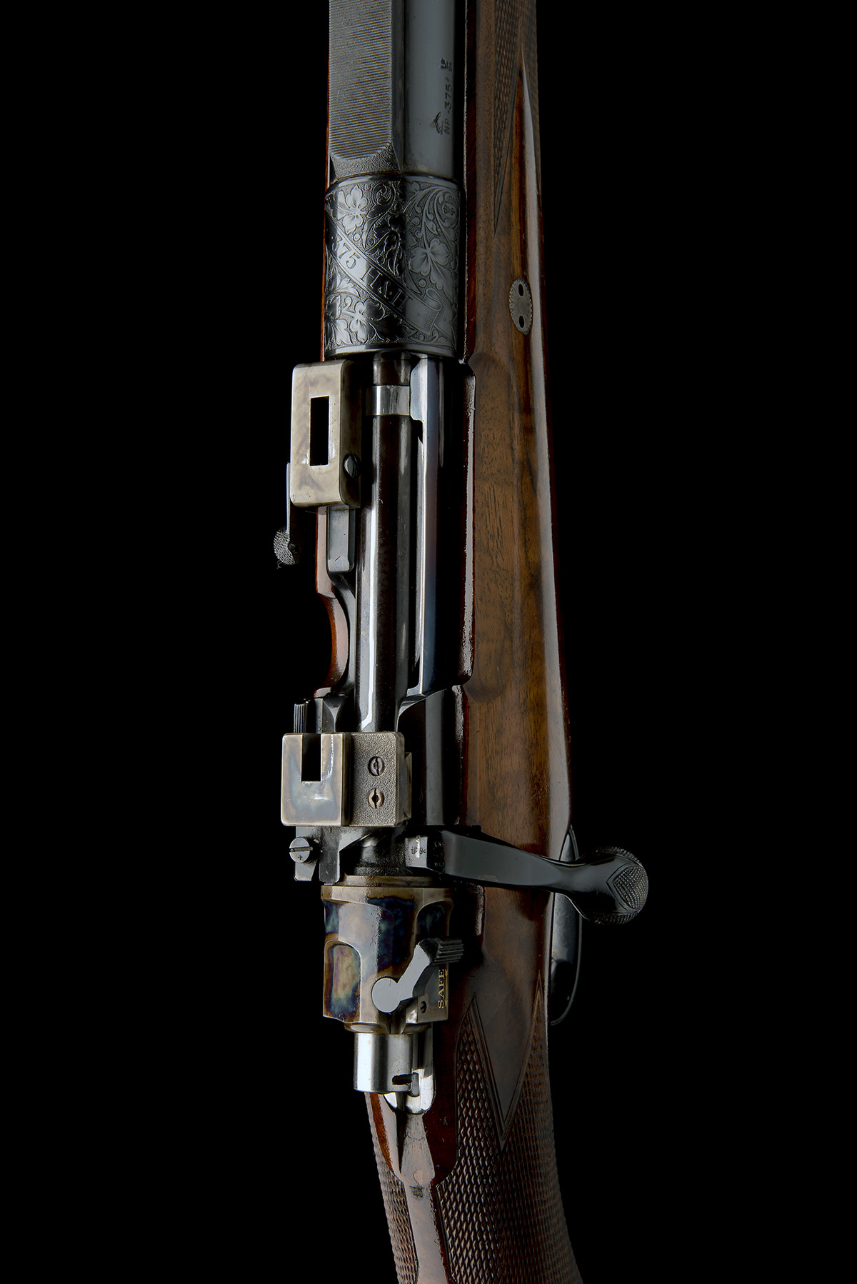 J. RIGBY & CO. A FINE, HUNT-ENGRAVED .375 H&H MAGNUM BOLT-MAGAZINE SPORTING RIFLE, serial no. - Image 4 of 12