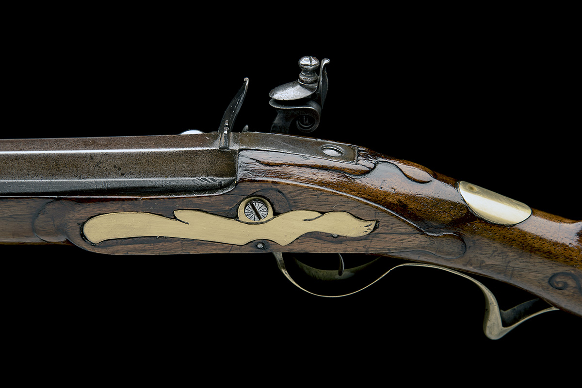 A .650 FLINTLOCK SPORTING-RIFLE SIGNED INNES, no visible serial number, circa 1780 and of jager - Image 5 of 9