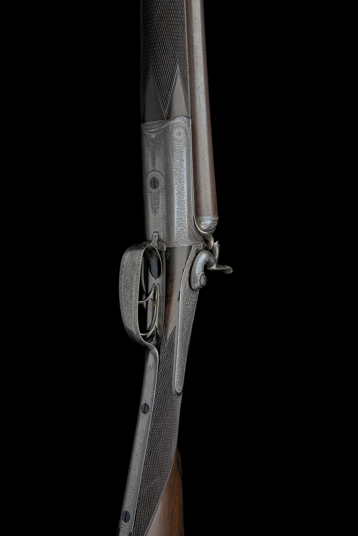 STEPHEN GRANT A 12-BORE 1871 PATENT SIDELEVER HAMMERGUN, serial no. 4419, for 1875, 30in. nitro - Image 4 of 8