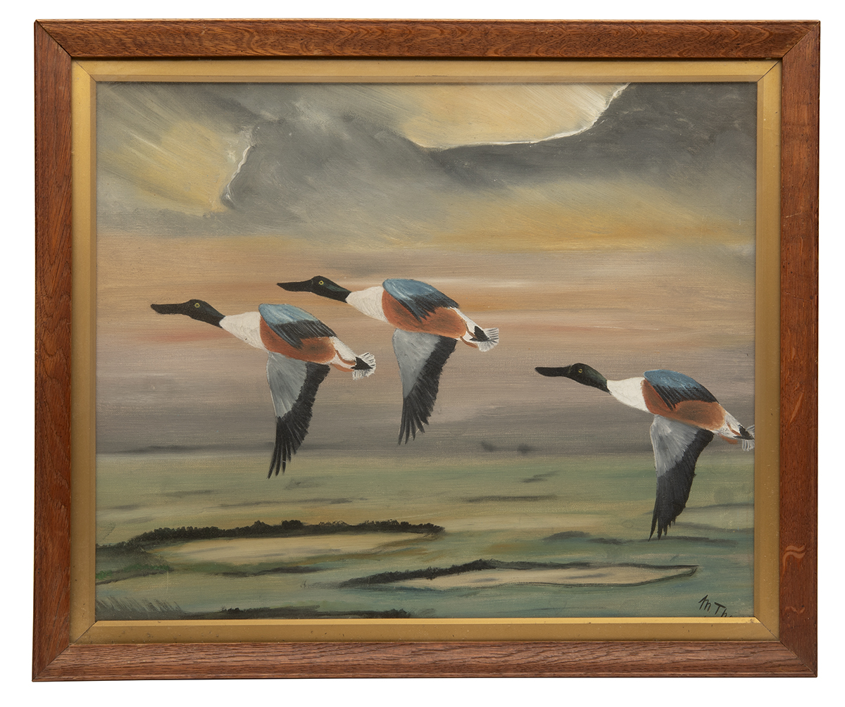 MACKENZIE THORPE AN ORIGINAL OIL ON CANVAS, signed by the artist, showing ducks rising over
