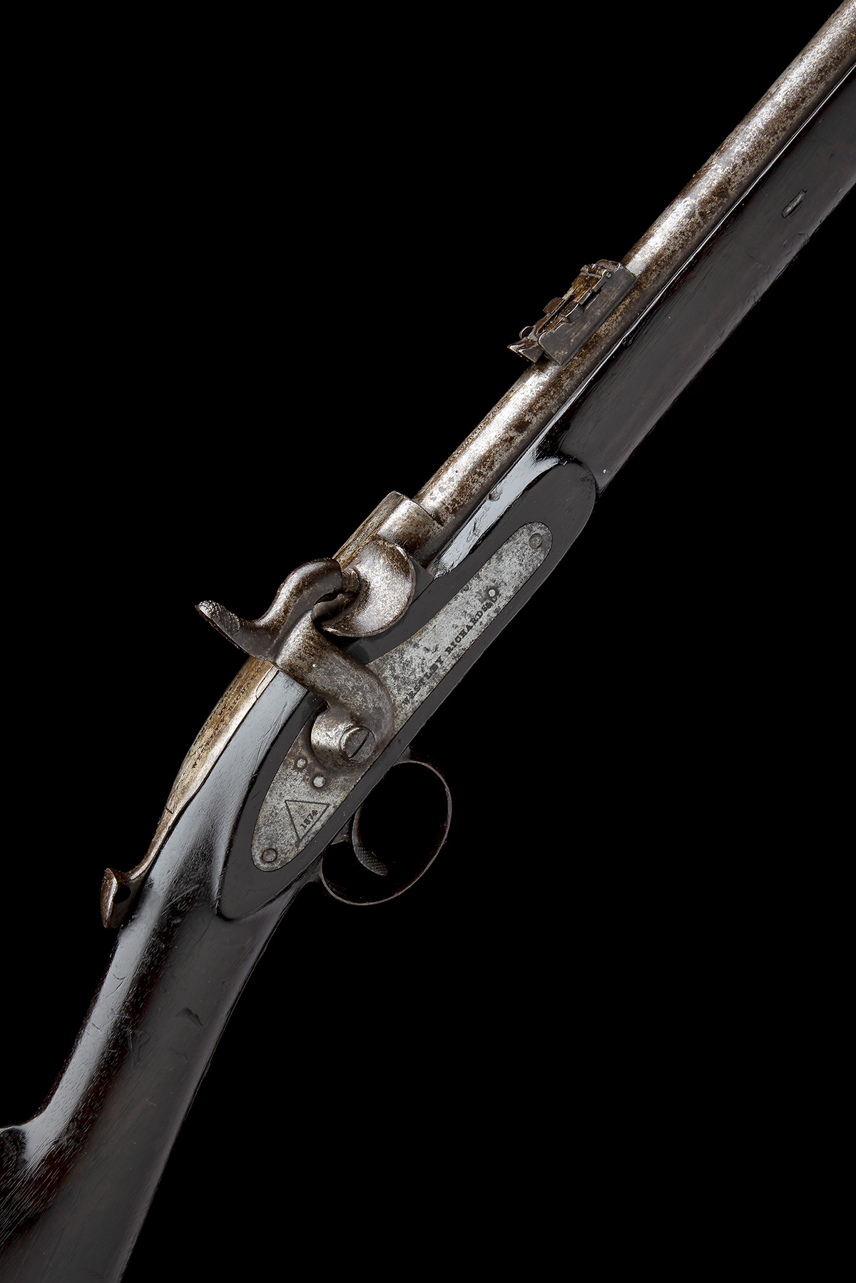 WESTLEY RICHARDS, BIRMINGHAM A .450 PERCUSSION BREECH-LOADING CARBINE, MODEL 'MONKEY-TAIL', serial