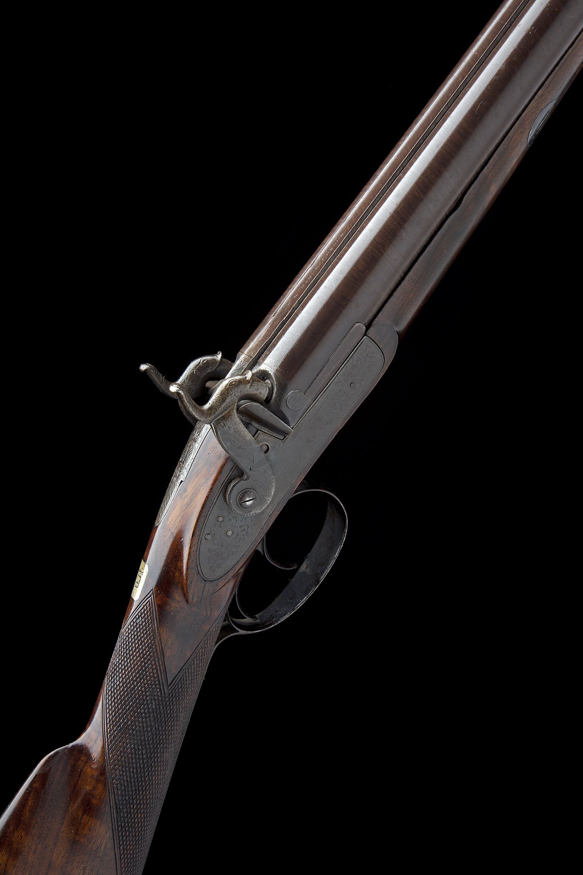 T.K. BAKER, LONDON A 10-BORE PERCUSSION DOUBLE-BARRELLED SPORTING-GUN, no visible serial number,
