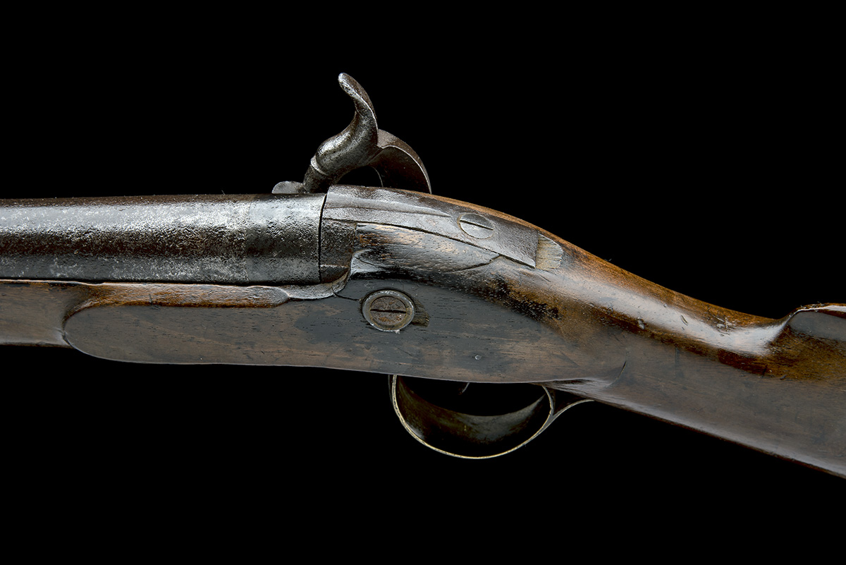 A 10-BORE PERCUSSION BANK-GUN, SIGNATURE OBSCURED, no visible serial number, English, some parts - Image 4 of 7