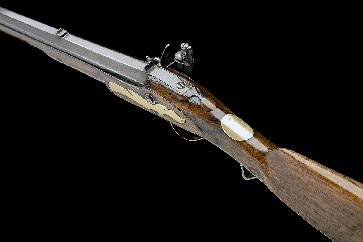 A .650 FLINTLOCK SPORTING-RIFLE SIGNED INNES, no visible serial number, circa 1780 and of jager - Image 9 of 9