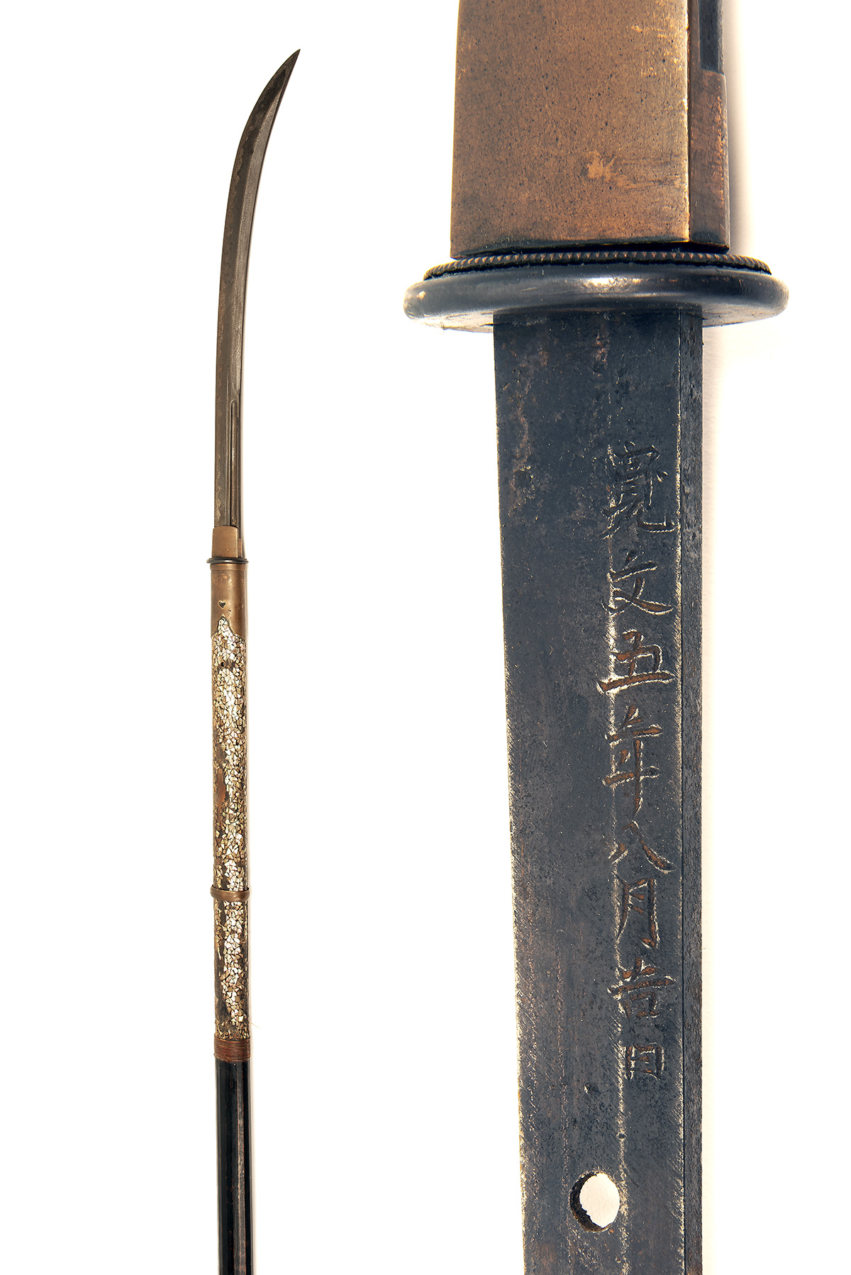 A JAPANESE NAGINATA POLEARM, circa 1800, with curving 18in. blade signed on both sides of the
