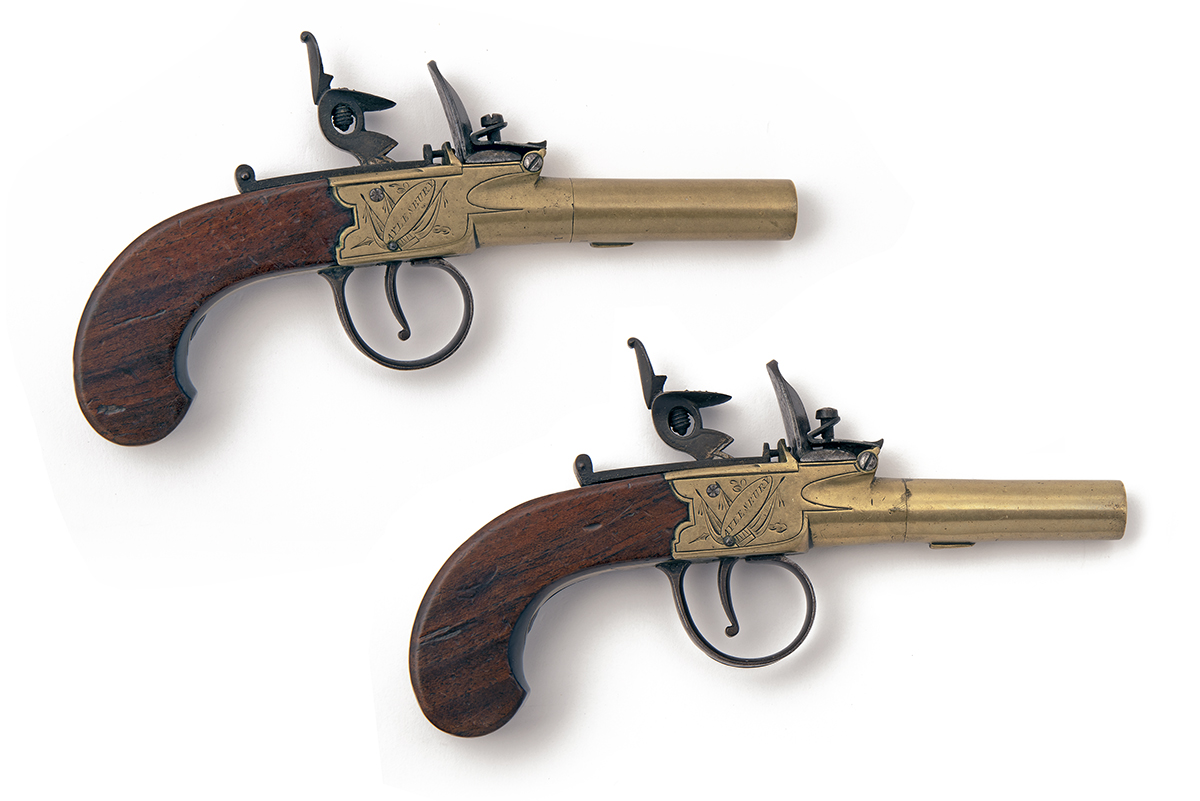 T.W. FIELD, AYLESBURY A PAIR OF 60-BORE FLINTLOCK BRASS BODIED AND BARRELLED POCKET-PISTOLS, no - Image 2 of 2