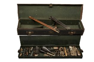 BUSSEY, LONDON A BITUMEN COATED CANVAS TWO-TIER GUNCASE FOR A PINFIRE SPORTING-GUN WITH TIN