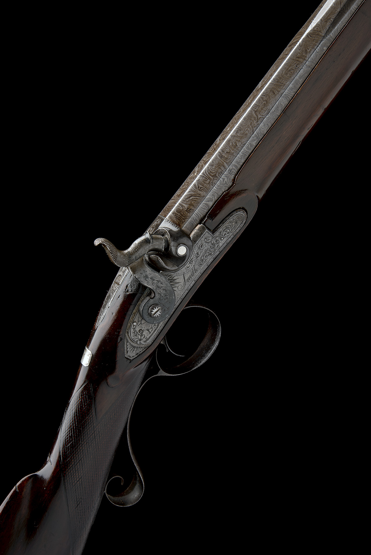 SMITH, LONDON A 12-BORE PERCUSSION SINGLE-BARRELLED SPORTING-GUN, no visible serial number, circa