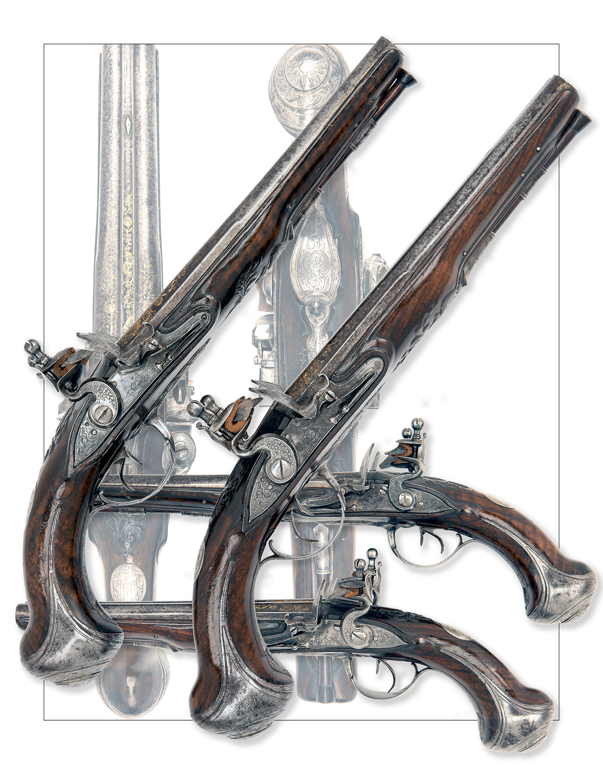 CAIRES, ST ETIENNE, FRANCE A GOOD PAIR OF 28-BORE FLINTLOCK DOUBLE-BARRELLED HOLSTER-PISTOLS, no - Image 8 of 8