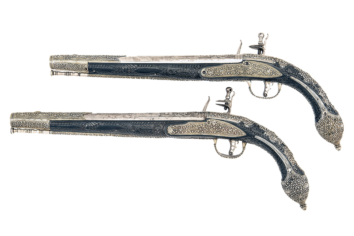 A FINE PAIR OF 22-BORE FLINTLOCK HOLSTER-PISTOL WITH EBONY STOCKS AND NIELLO DECORATION, UNSIGNED, - Image 2 of 10
