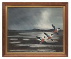 MACKENZIE THORPE AN ORIGINAL OIL ON CANVAS, signed by the artist, showing ducks if three ducks in