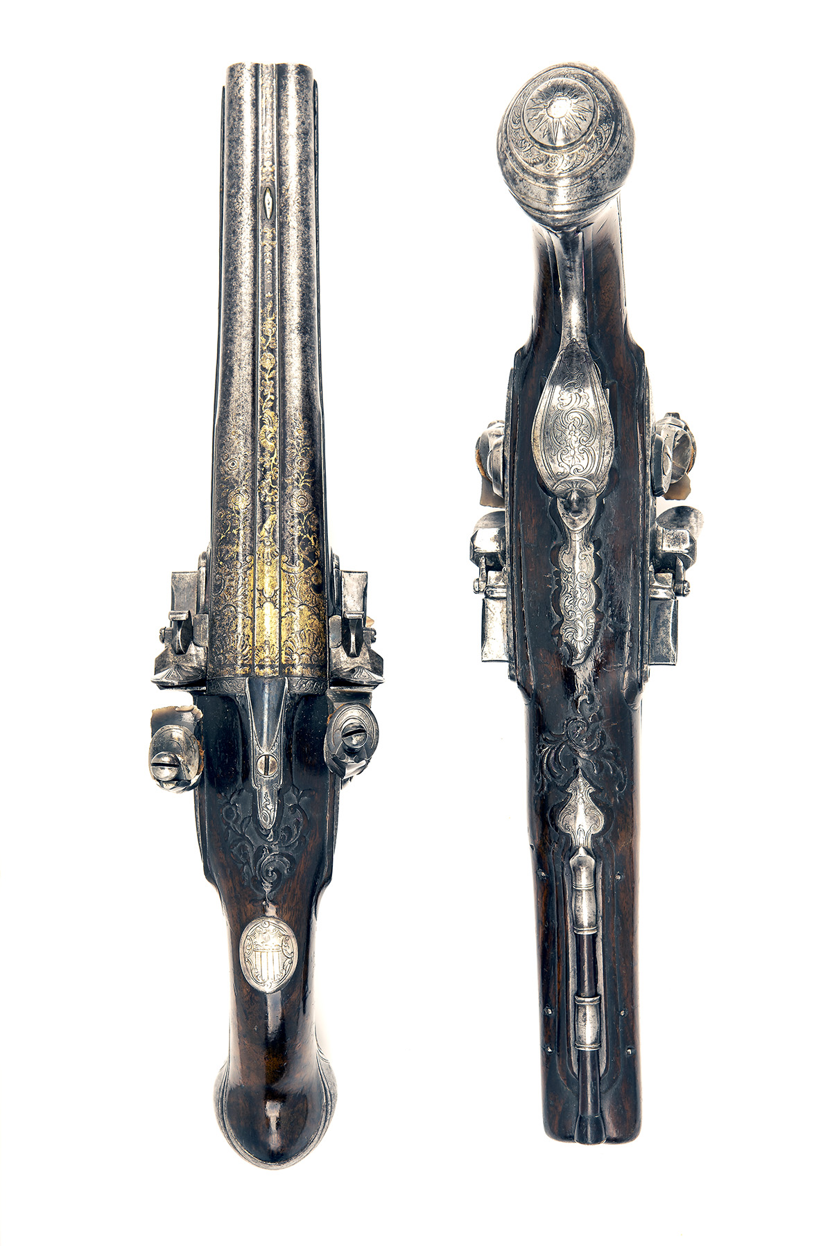 CAIRES, ST ETIENNE, FRANCE A GOOD PAIR OF 28-BORE FLINTLOCK DOUBLE-BARRELLED HOLSTER-PISTOLS, no - Image 3 of 8