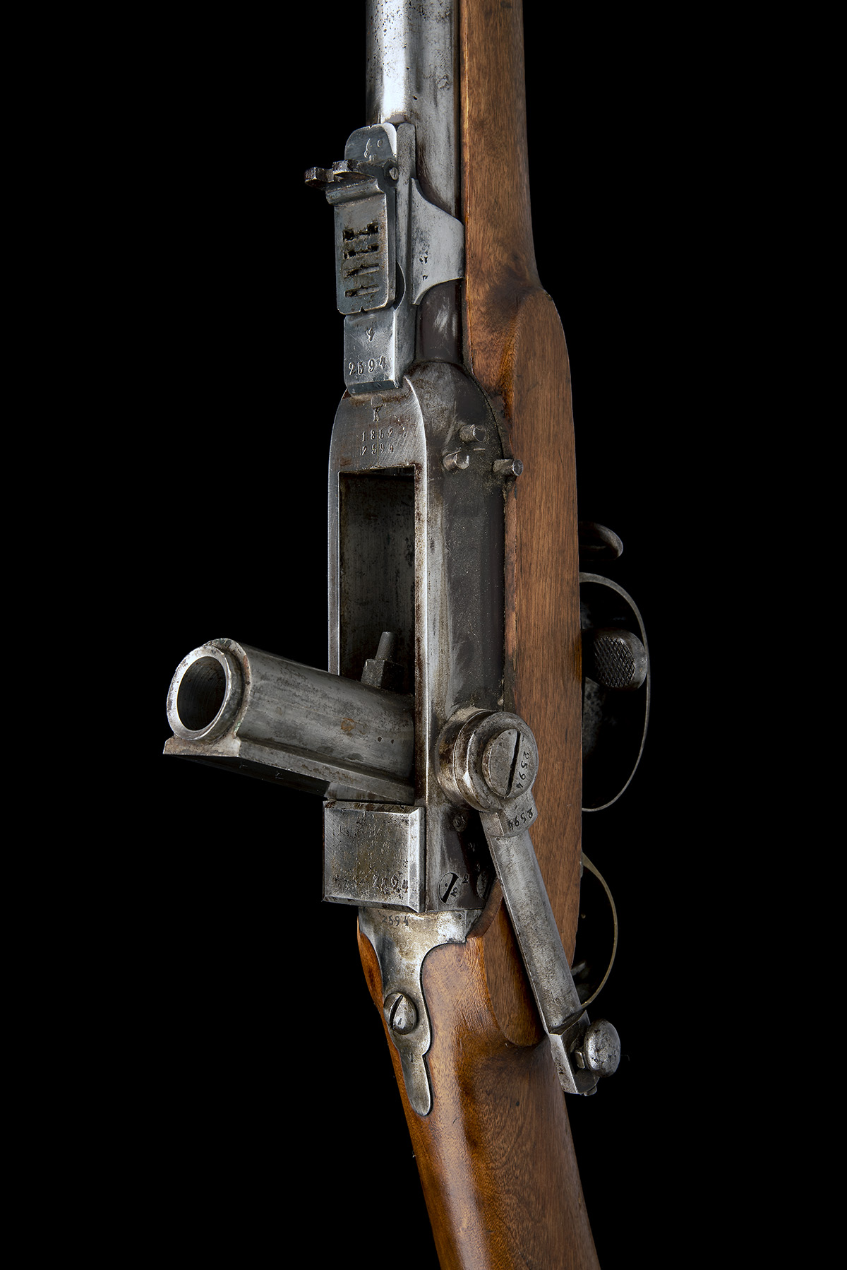 A RARE 17.5mm PERCUSSION BREECH-LOADING SERVICE-RIFLE, MODEL 'NORWEGIAN KAMMERLADER', serial no. - Image 5 of 10