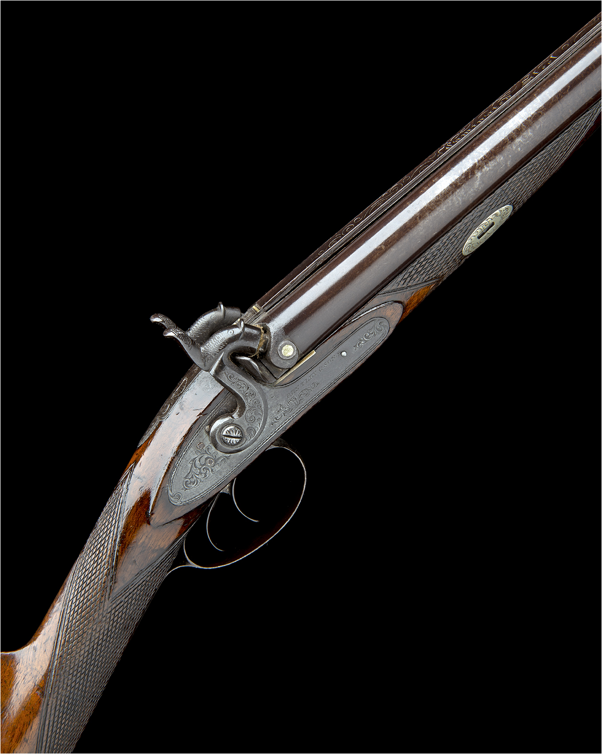 BENTLEY & SONS, LONDON A 15-BORE PERCUSSION DOUBLE-BARRELLED SPORTING-GUN, no visible serial number,