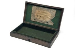 H. HOLLAND, LONDON AN OAK PISTOL or REVOLVER CASE-CARCASS WITH TRADE-LABEL, circa 1850 and almost