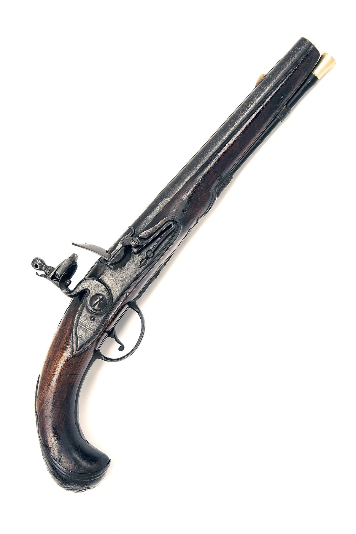 A 22-BORE FLINTLOCK HORSE-PISTOL, UNSIGNED, no visible serial number, German or Bohemian circa 1775,