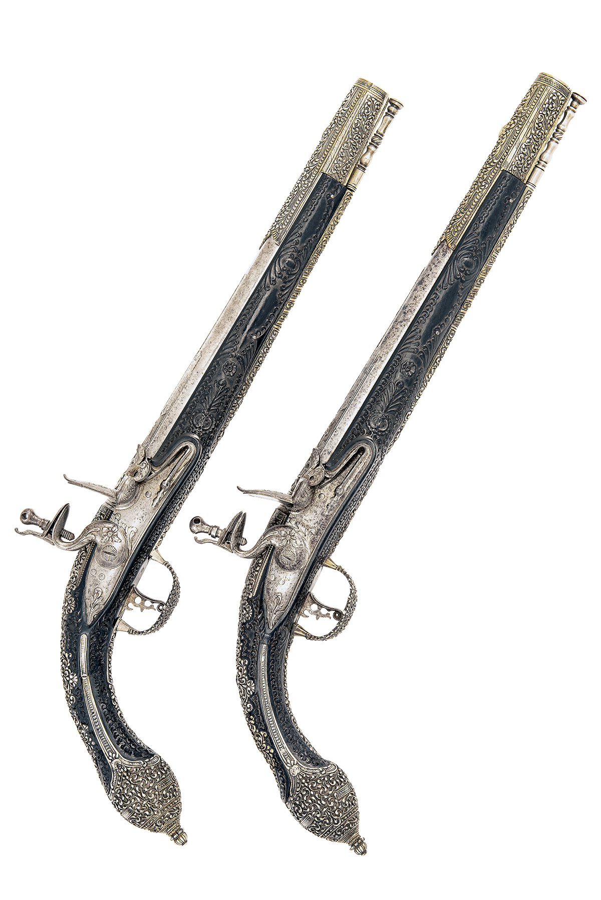 A FINE PAIR OF 22-BORE FLINTLOCK HOLSTER-PISTOL WITH EBONY STOCKS AND NIELLO DECORATION, UNSIGNED,