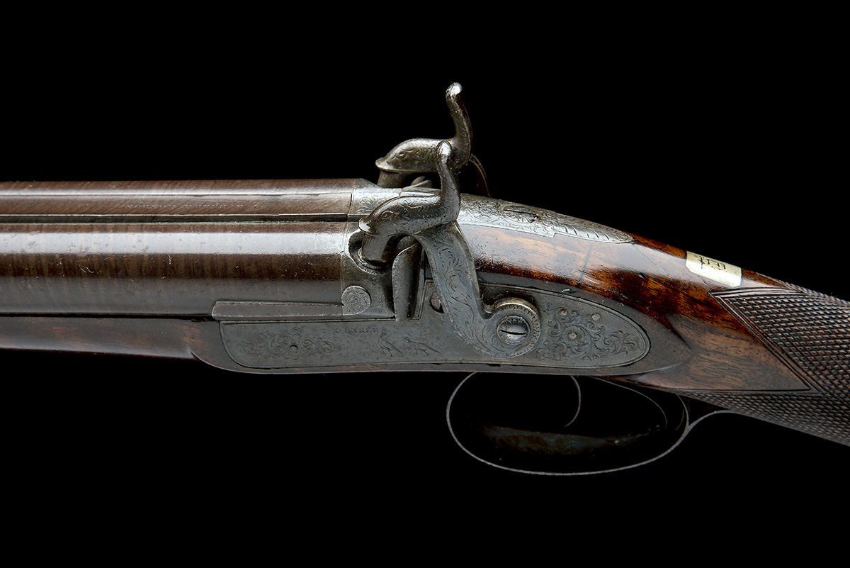 T.K. BAKER, LONDON A 10-BORE PERCUSSION DOUBLE-BARRELLED SPORTING-GUN, no visible serial number, - Image 6 of 8