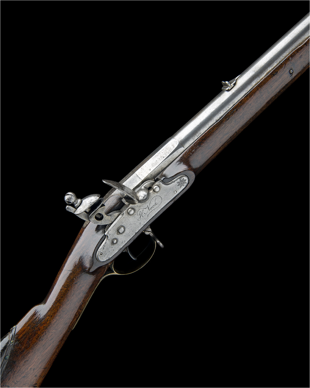 H. NOCK, LONDON A RARE .650 FLINTLOCK RIFLED VOLUNTEER CARBINE WITH ENCLOSED SCREWLESS LOCK,