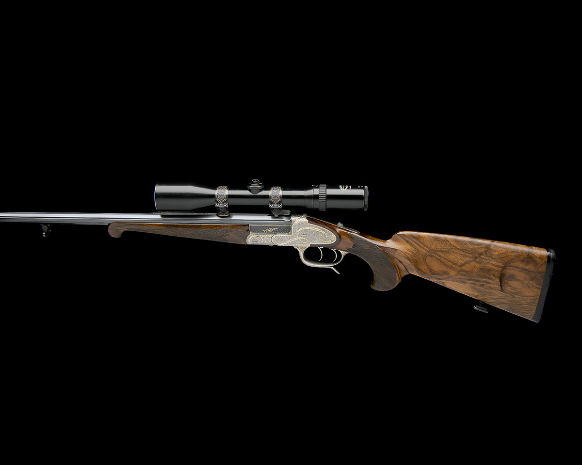 H. SCHEIRING A .300 WIN. MAG. JAEGER PATENT SINGLE-BARRELLED SIDEPLATED PUSH-FORWARD UNDERLEVER - Image 2 of 13