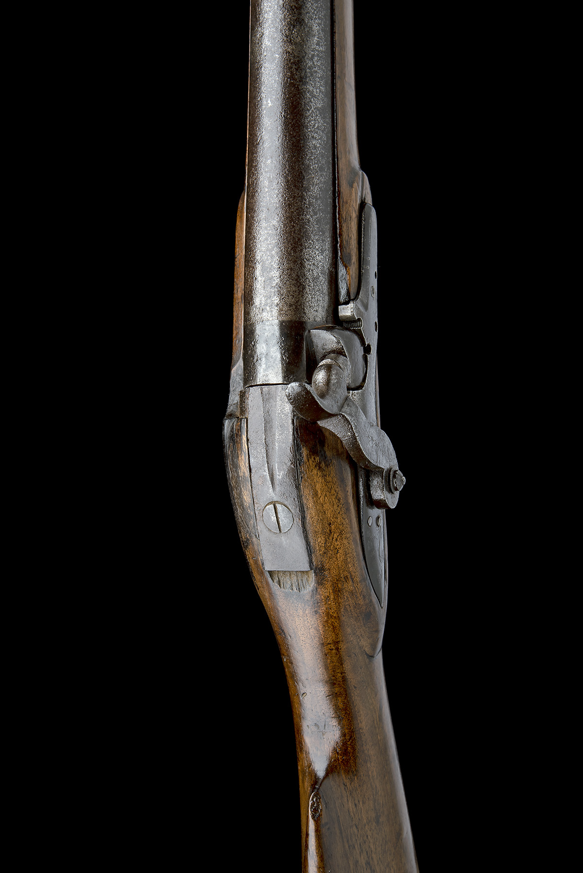 A 10-BORE PERCUSSION BANK-GUN, SIGNATURE OBSCURED, no visible serial number, English, some parts - Image 6 of 7