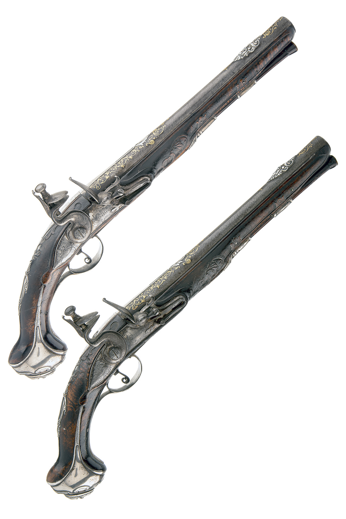 TULA ARSENAL, RUSSIA A MAGNIFICENT PAIR OF 16-BORE FLINTLOCK SILVER & GILT-MOUNTED HOLSTER