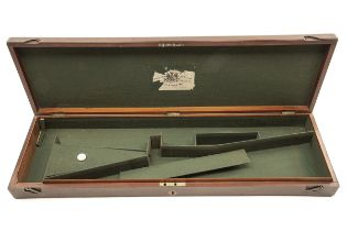 A VINTAGE MAHOGANY SINGLE PERCUSSION GUNCASE, fitted for 31in. barrels, the interior lined with
