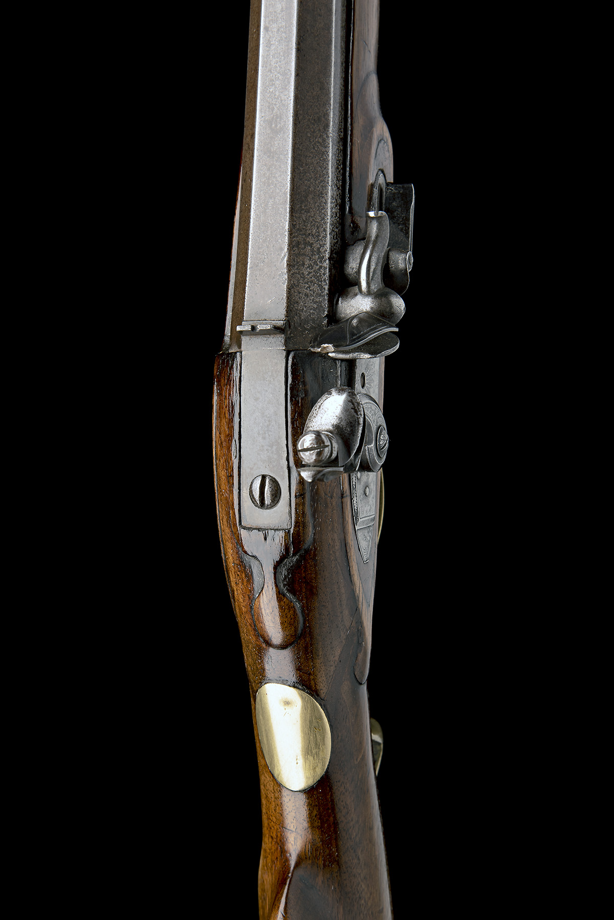 A .650 FLINTLOCK SPORTING-RIFLE SIGNED INNES, no visible serial number, circa 1780 and of jager - Image 4 of 9
