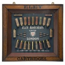 A VINTAGE ELEY BROTHERS LTD. CARTRIDGE DISPLAY BOARD, in a glazed wooden frame, consisting of 19