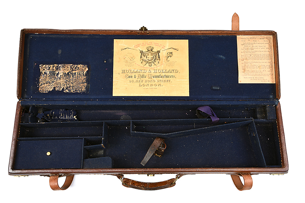 HOLLAND & HOLLAND A BRASS-CORNERED LEATHER 4-BORE SINGLE BARREL GUNCASE, fitted for a 28in. - Image 9 of 12