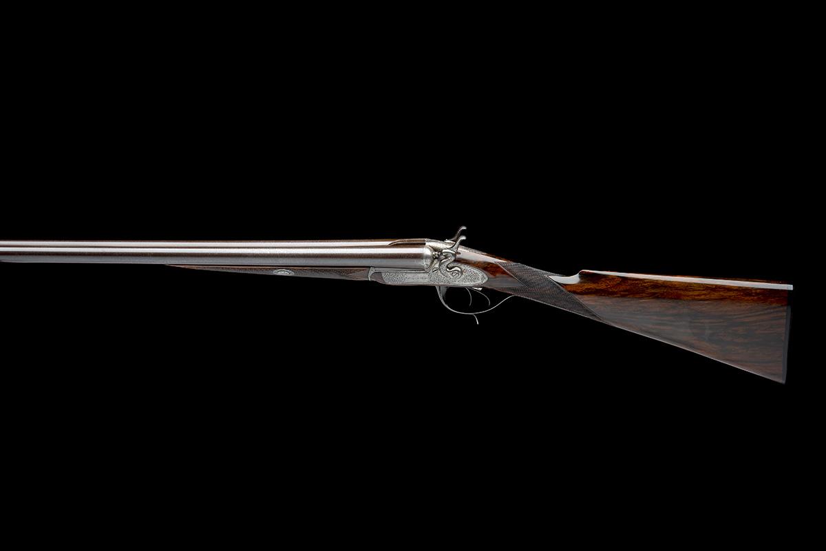 WIGGAN & ELLIOTT A SCARCE 12-BORE HENRY ELLIOTT 1863 PATENT PUSH-FORWARD UNDERLEVER ROTATING - Image 2 of 8