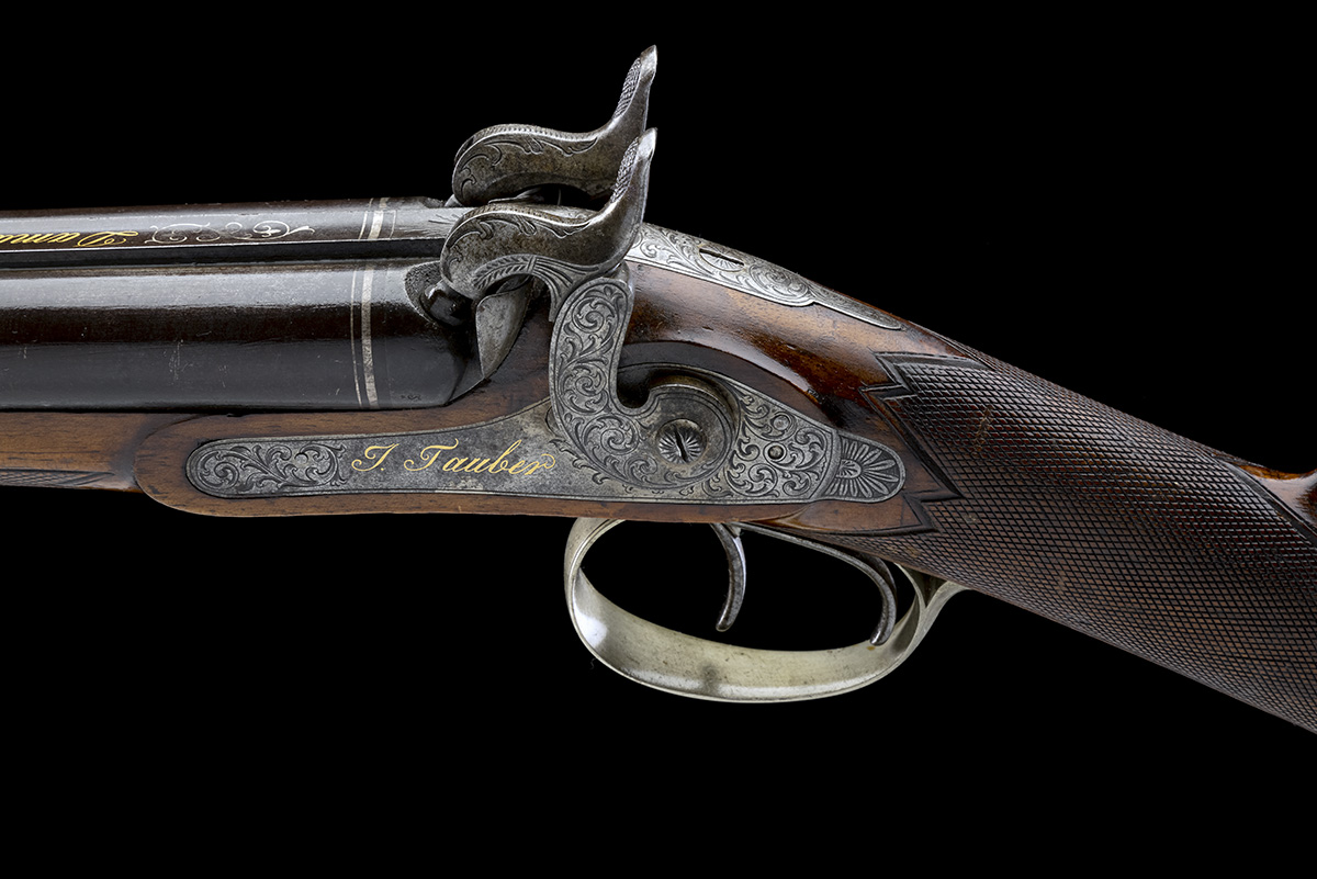 J. TAUBER, ZURICH A 14-BORE PERCUSSION DOUBLE-BARRELLED SPORTING-GUN, no visible serial number, - Image 4 of 9