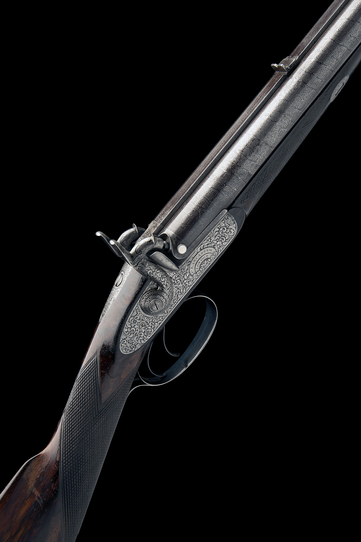 CHARLES LANCASTER, LONDON A CASED 12-BORE PERCUSSION DOUBLE-BARRELLED SPORTING-GUN, serial no. 2292,