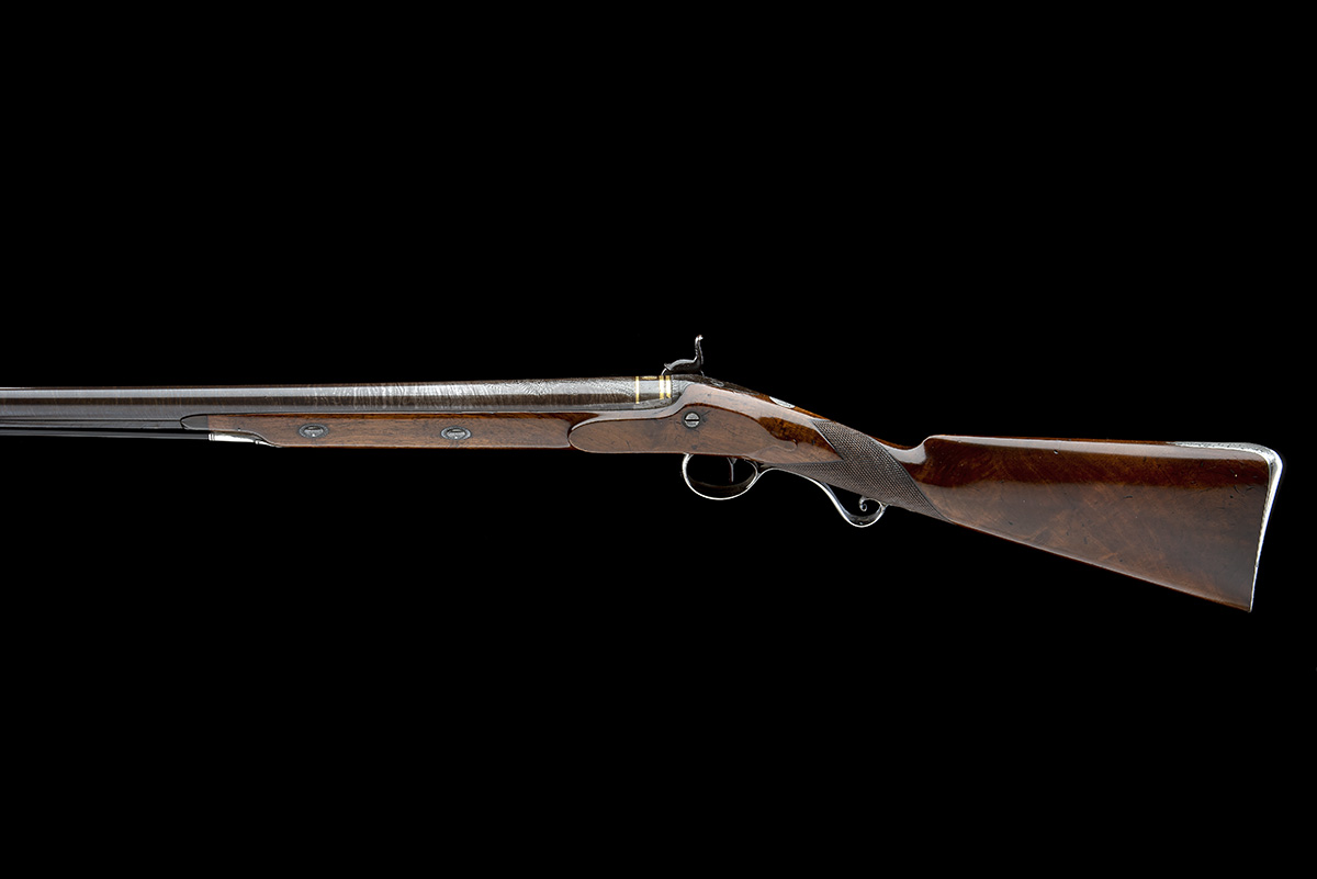 MOORE, CHOLSEY A GOOD 16-BORE PERCUSSION SILVER-MOUNTED SINGLE-BARRELLED SPORTING-GUN, no visible - Image 2 of 9