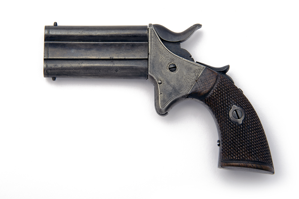 A .32 (RIMFIRE) TURN-OVER VEST-PISTOL, UNSIGNED, MODEL 'WOODWARD'S PATENT', serial no. 39997, - Image 2 of 5
