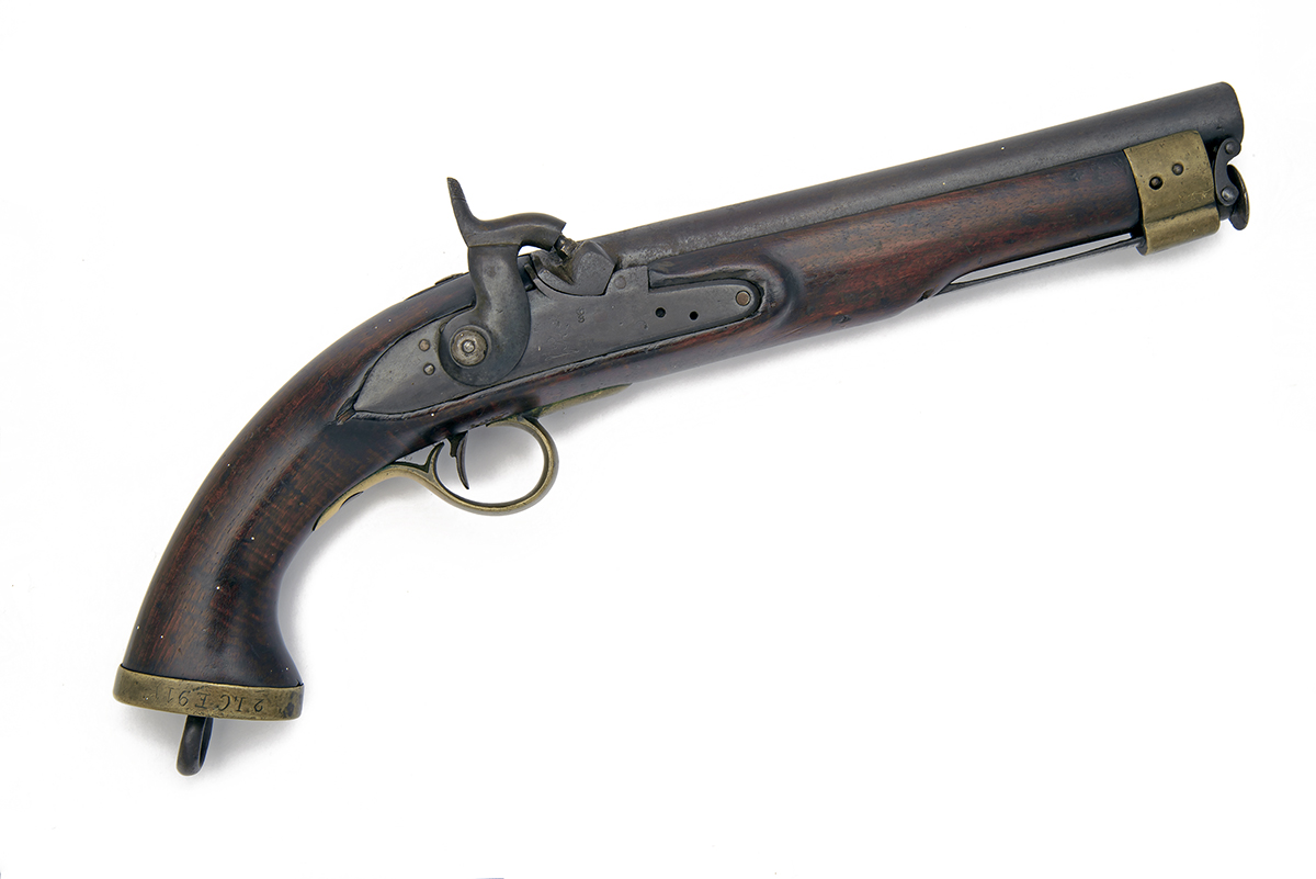 A RARE .650 PERCUSSION PISTOL FOR THE EAST INDIA COMPANY, no visible serial number, converted from
