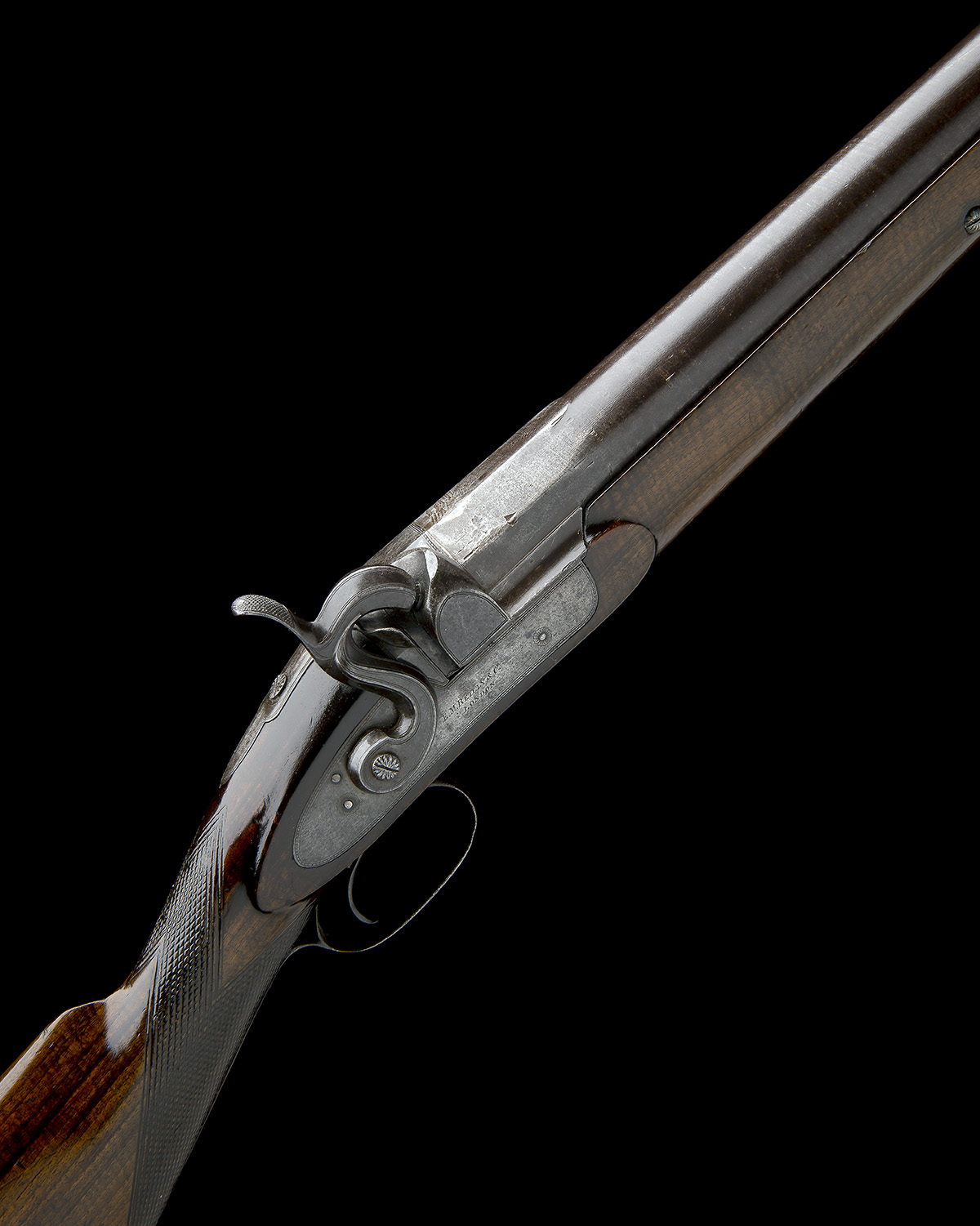 E.M. REILLY & CO., LONDON A 1in. PERCUSSION SINGLE-BARRELLED FOWLING-PIECE, no visible serial