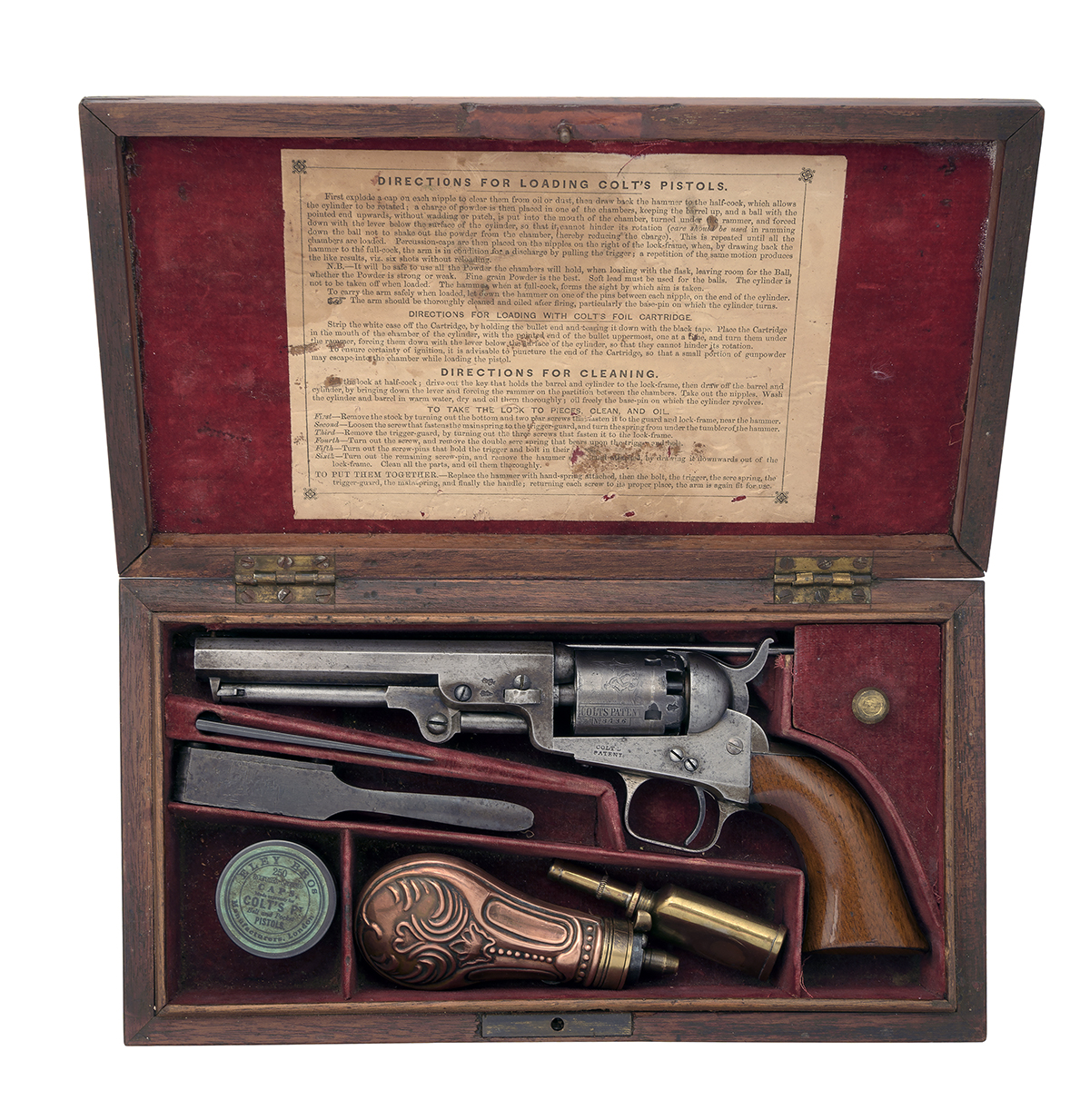 COLT, LONDON A CASED .31 PERCUSSION REVOLVER, MODEL '1849 LONDON POCKET', serial no. 8436, for 1855,