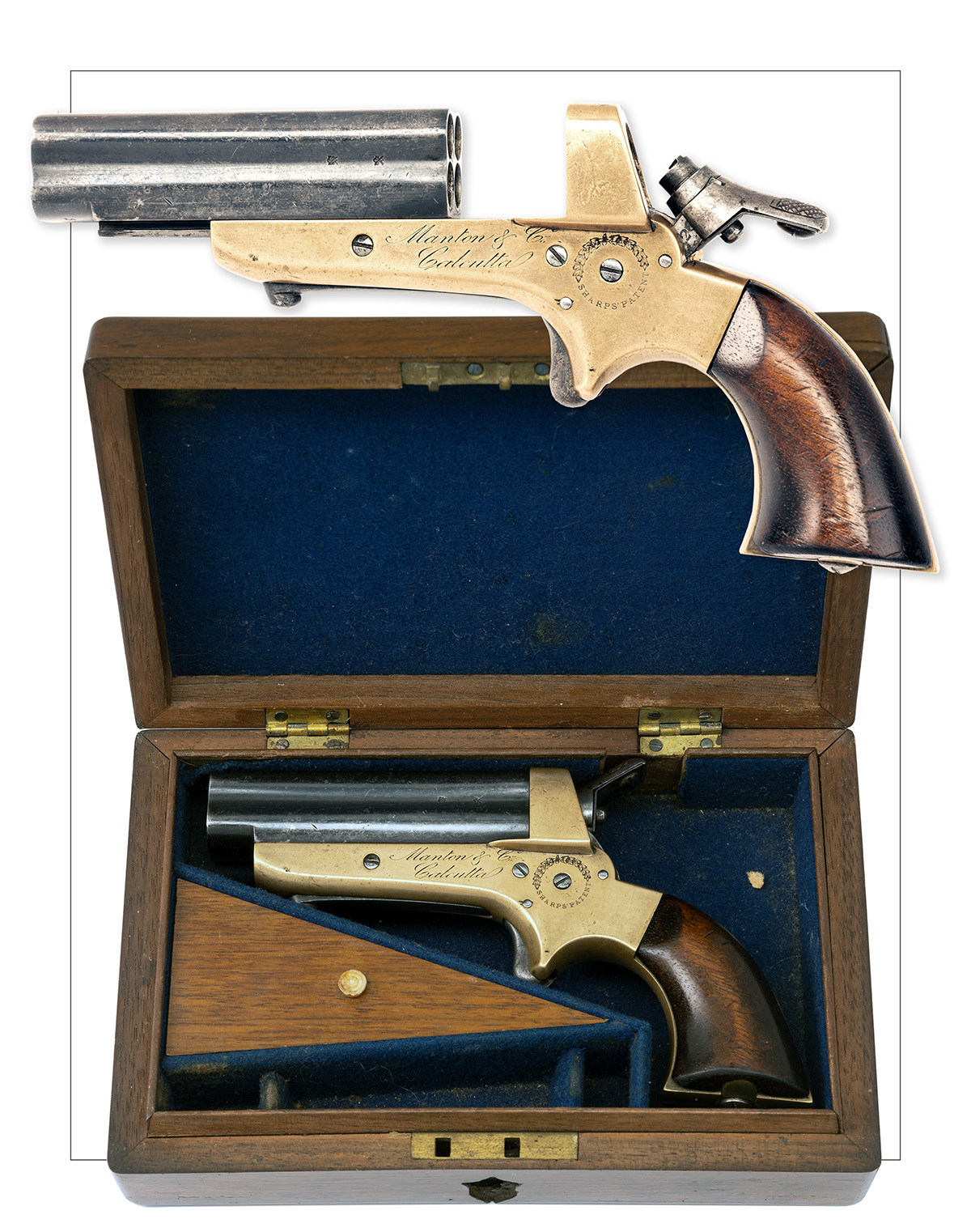 SHARPS, USA FOR MANTON & CO., CALCUTTA A CASED .30 (RIMFIRE) FOUR-BARRELLED DERRINGER PISTOL, - Image 5 of 5