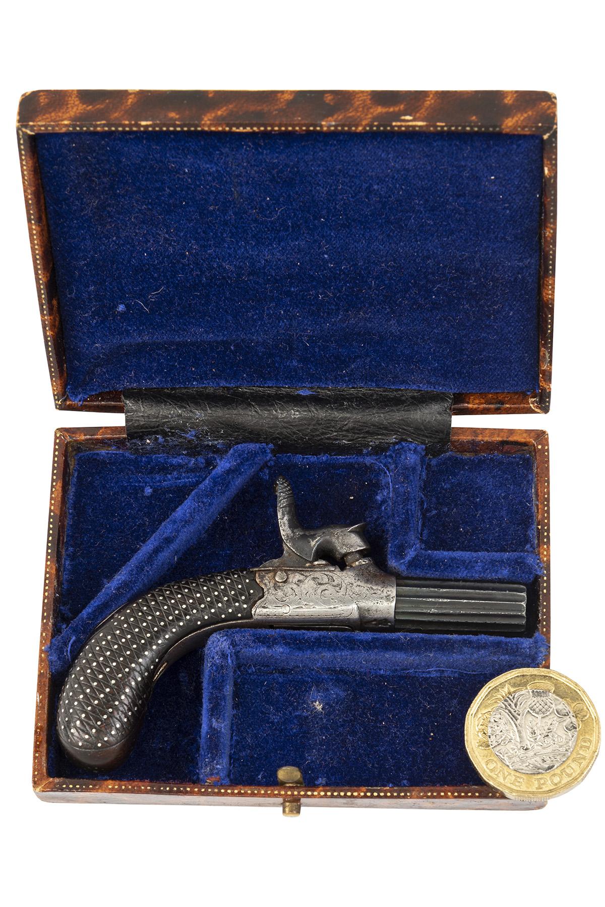 WITTON DAW & CO., LONDON A CASED 320-BORE PERCUSSION MINIATURE MUFF-PISTOL, no visible serial
