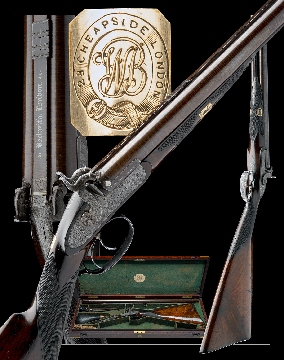 BECKWITH, LONDON A FINE CASED 15-BORE PERCUSSION DOUBLE-RIFLE FOR DANGEROUS GAME, serial no. 2747, - Image 14 of 14