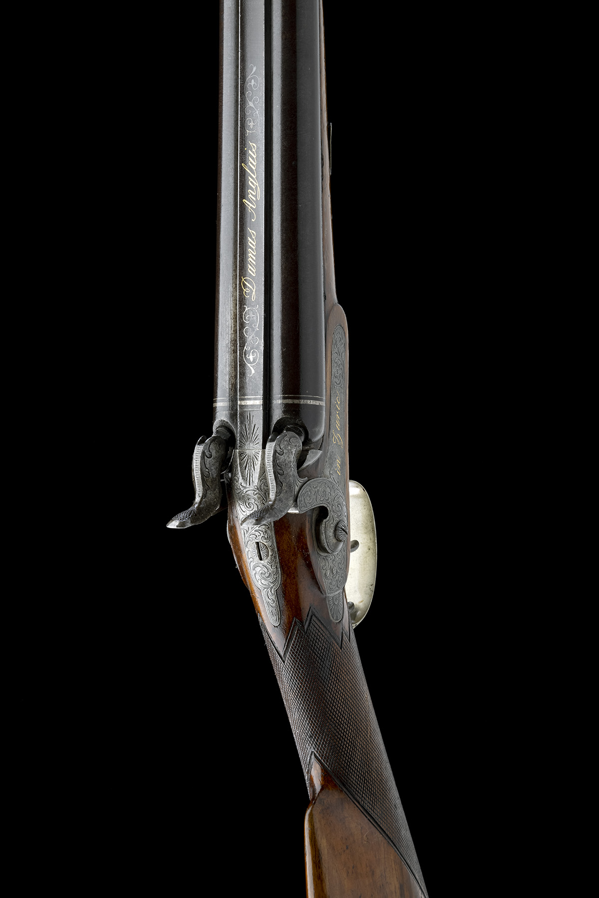 J. TAUBER, ZURICH A 14-BORE PERCUSSION DOUBLE-BARRELLED SPORTING-GUN, no visible serial number, - Image 6 of 9