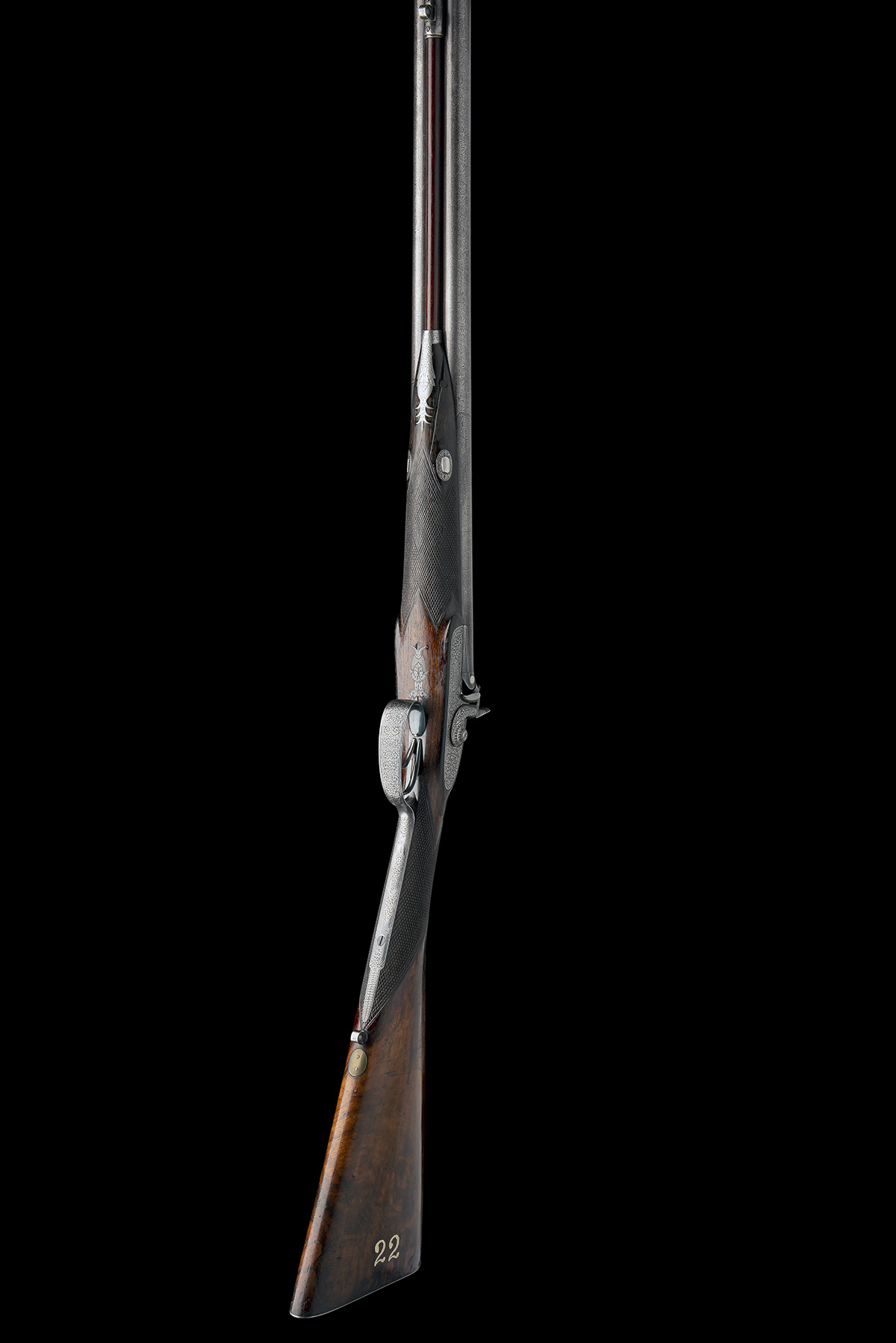 CHARLES LANCASTER, LONDON A CASED 12-BORE PERCUSSION DOUBLE-BARRELLED SPORTING-GUN, serial no. 2292, - Image 5 of 11