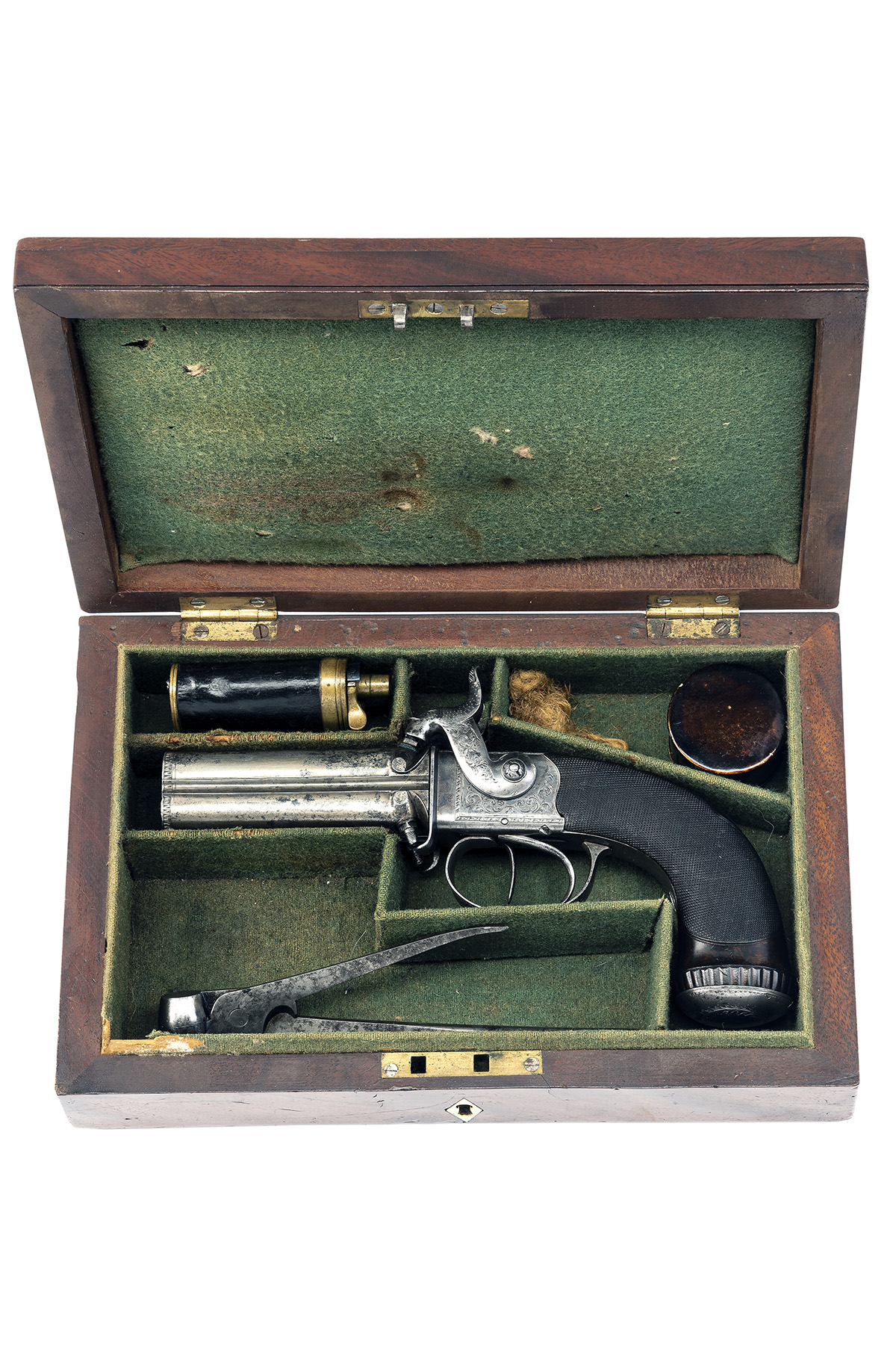 TIPPING, LONDON A CASED 48-BORE PERCUSSION FOUR-BARRELLED TURN-OVER PISTOL, no visible serial