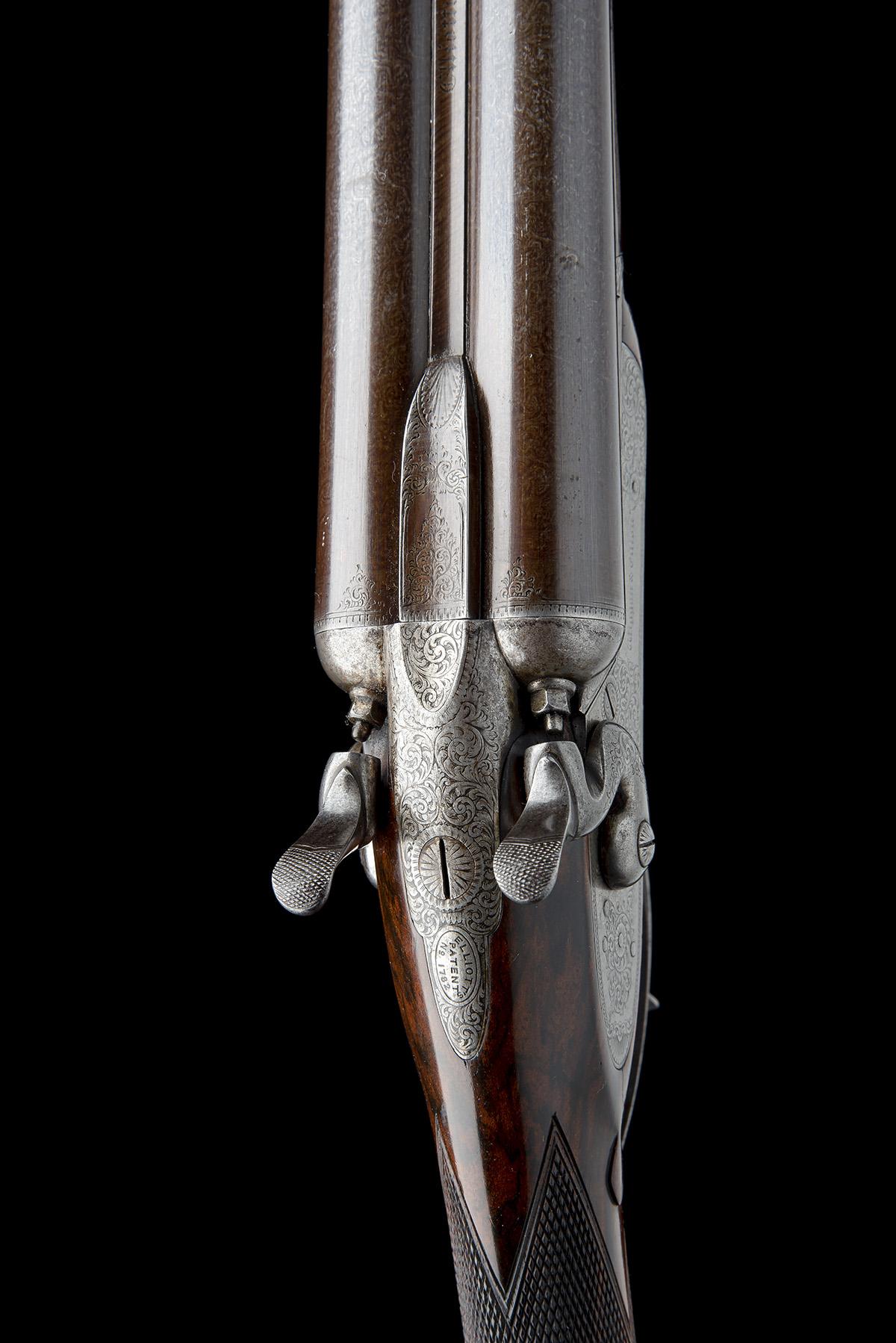 WIGGAN & ELLIOTT A SCARCE 12-BORE HENRY ELLIOTT 1863 PATENT PUSH-FORWARD UNDERLEVER ROTATING - Image 4 of 8