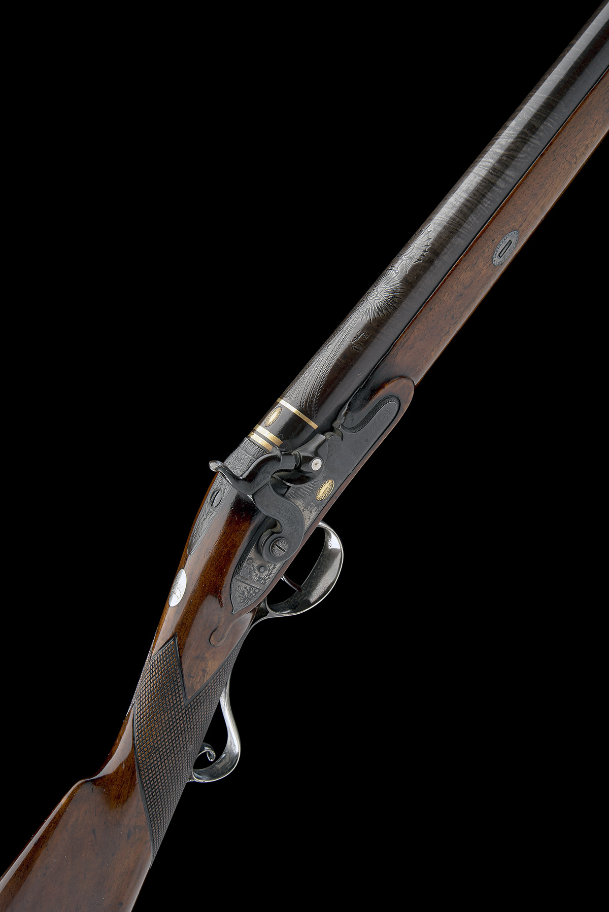 MOORE, CHOLSEY A GOOD 16-BORE PERCUSSION SILVER-MOUNTED SINGLE-BARRELLED SPORTING-GUN, no visible