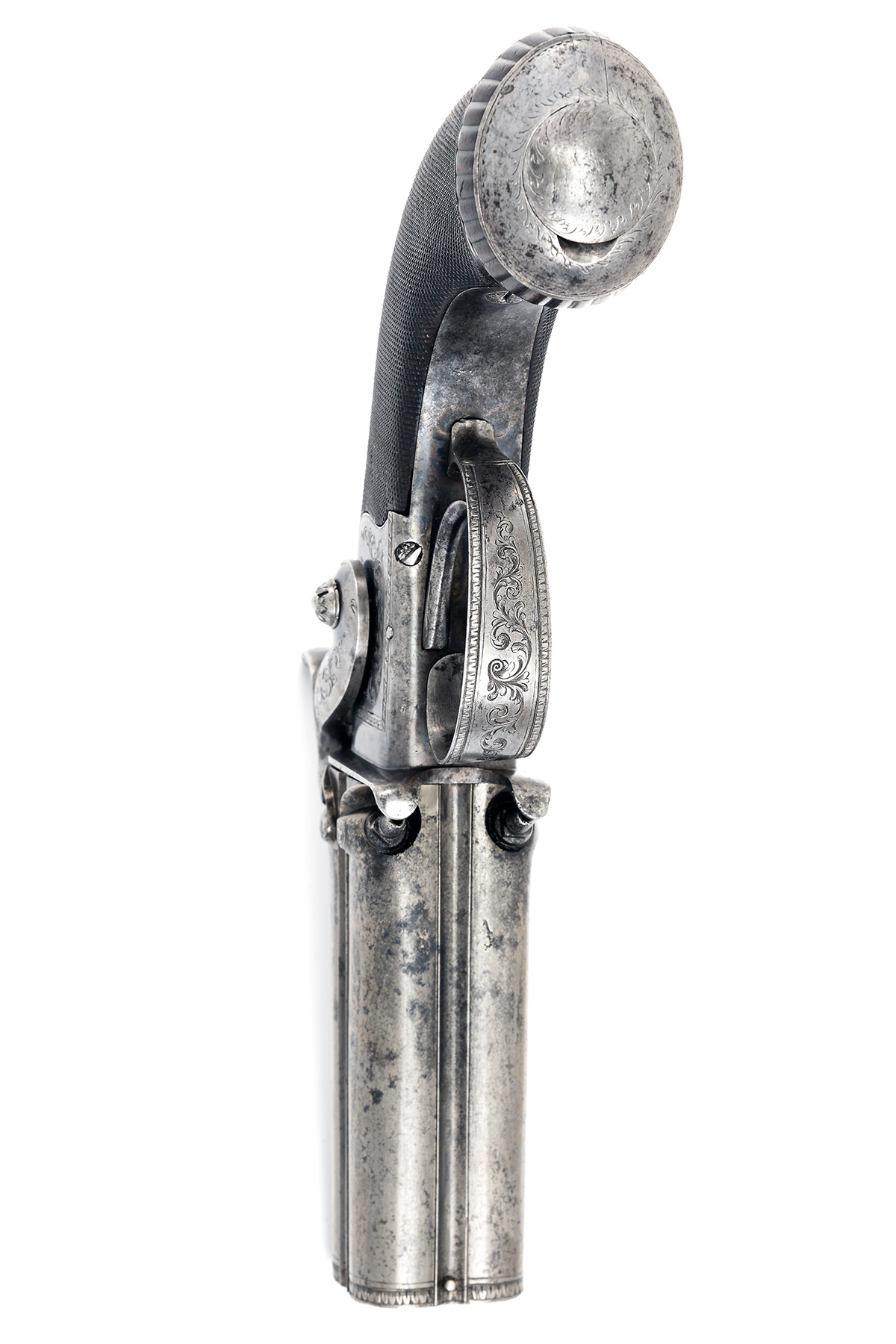 TIPPING, LONDON A CASED 48-BORE PERCUSSION FOUR-BARRELLED TURN-OVER PISTOL, no visible serial - Image 6 of 7
