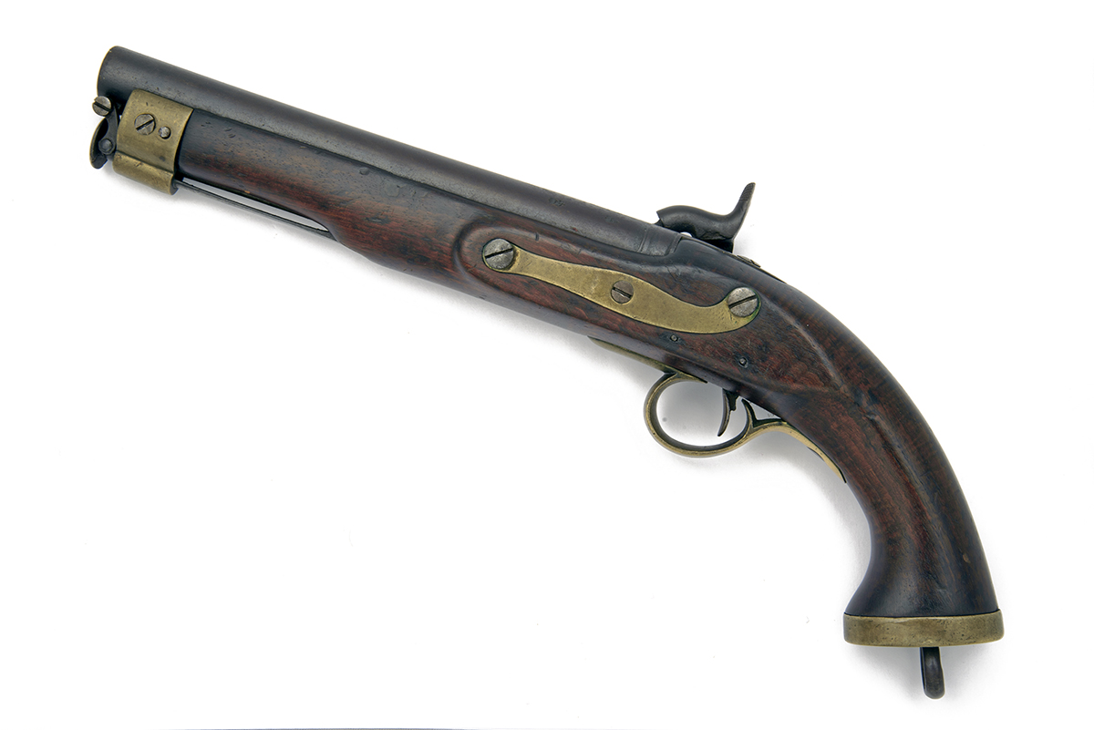A RARE .650 PERCUSSION PISTOL FOR THE EAST INDIA COMPANY, no visible serial number, converted from - Image 2 of 4